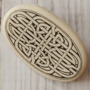 vintage ceramic Oval Celtic Knot maze brooch pin